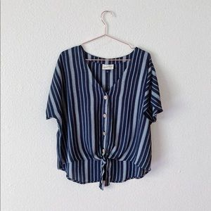 Blue Striped Tee with Wooden Buttons